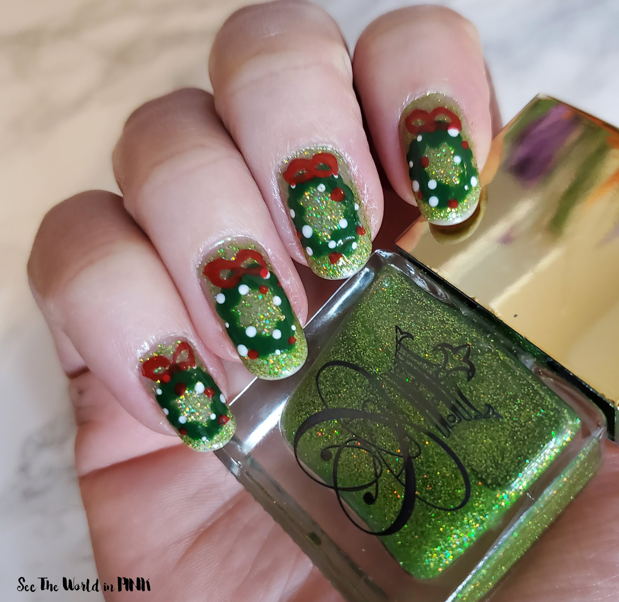 Manicure Monday - Christmas Wreath Nails