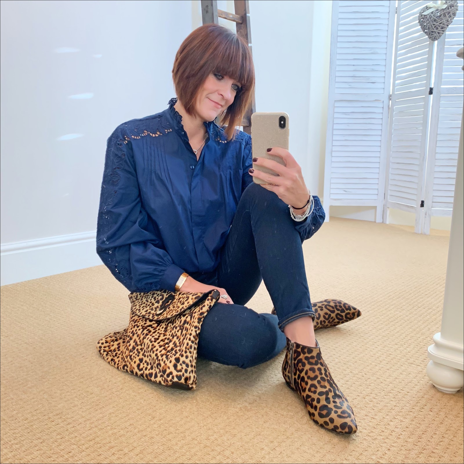 my midlife fashion, h and m embroidered blouse, j crew 8 inch toothpick jeans, boden leopard print ankle boots, zara leopard print bag