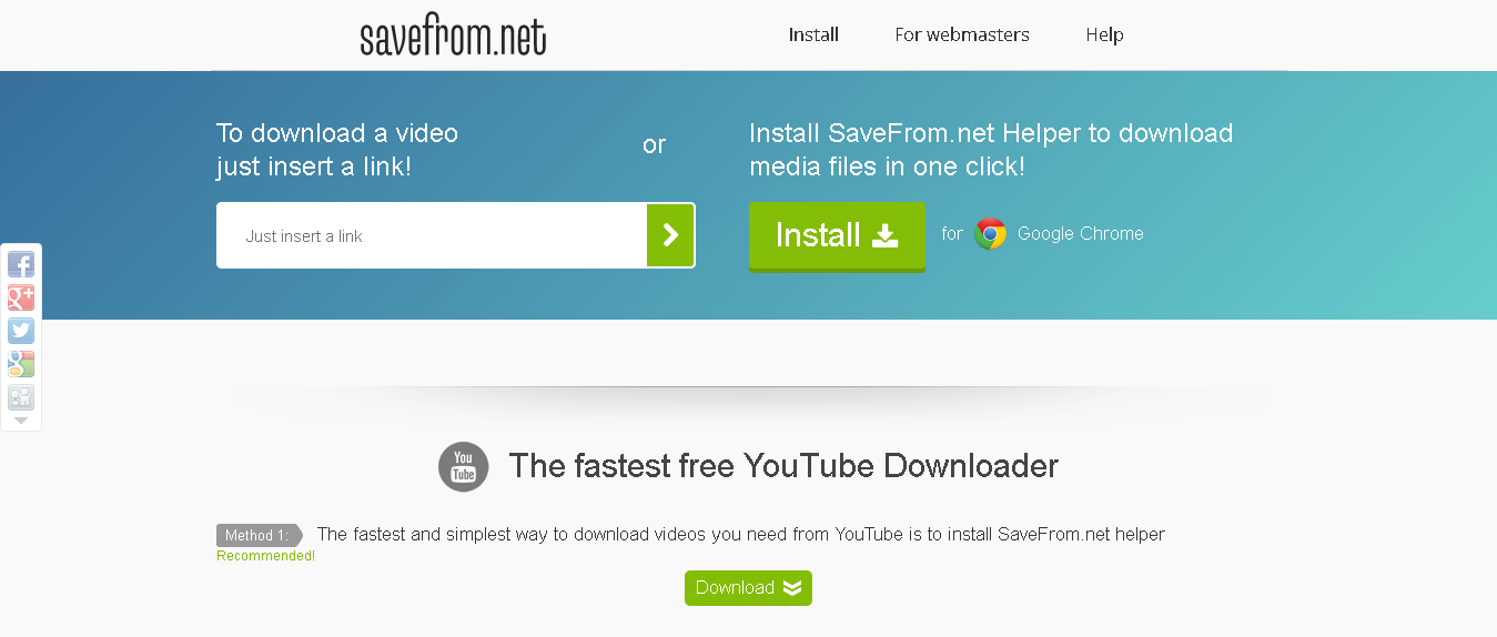 savefrom net helper for chrome