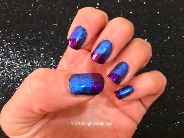 pigment farla mavi mor oje nail art