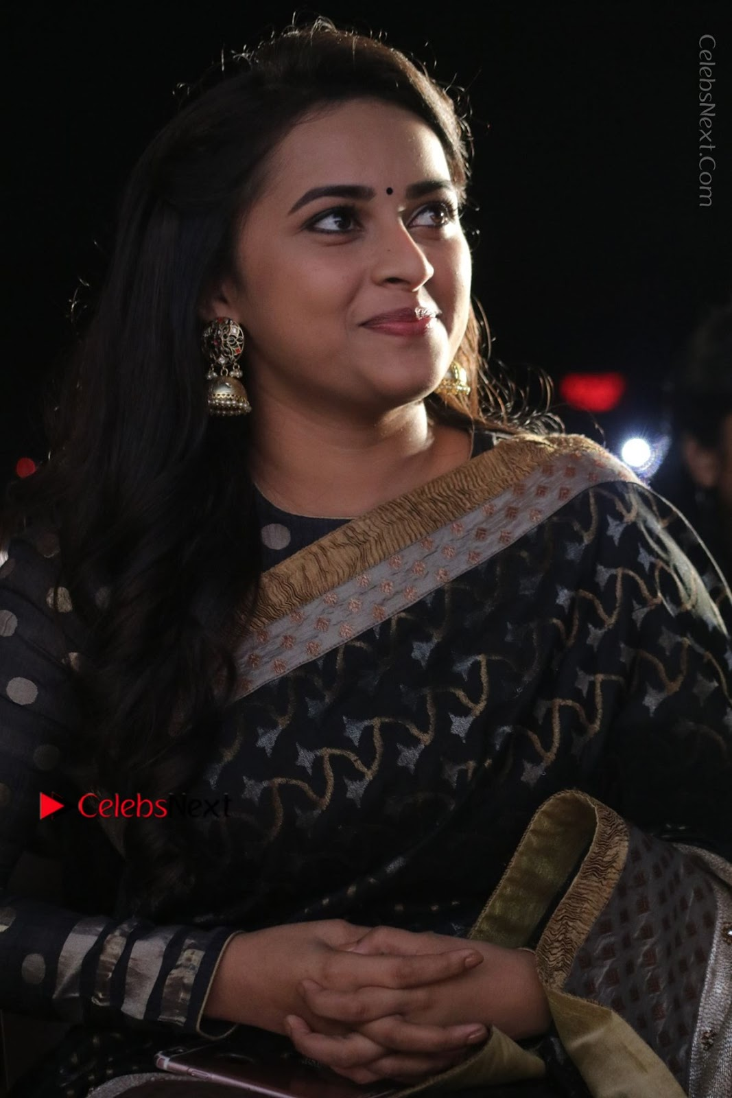 Sri Divya Latest Photos in Black Saree at Sangili Bungili Kathava Thora Tamil Movie Audio Launch