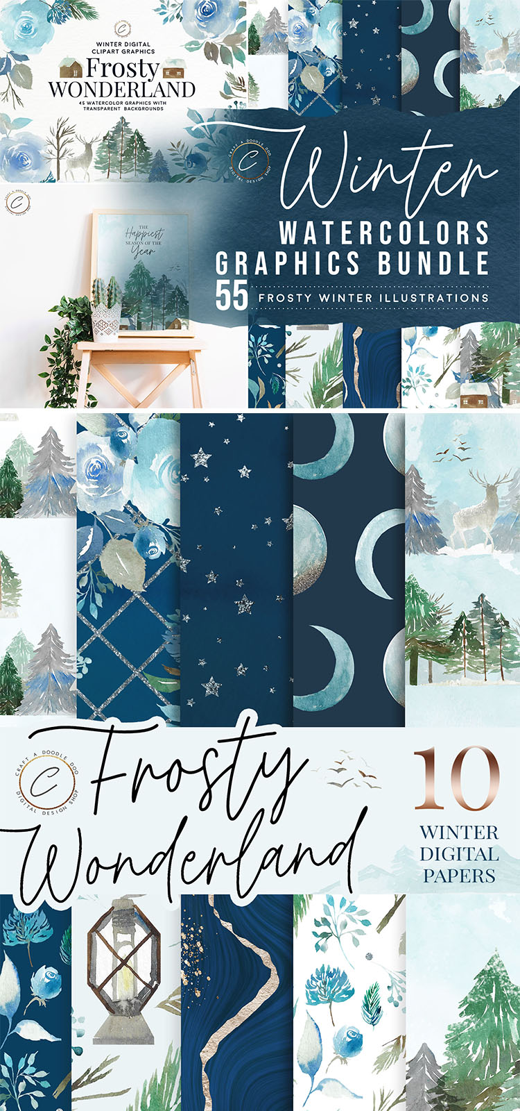 Free Winter Digital Paper Pack by Craft A Doodle Doo, Winter Wonderland scrapbooking paper set, blue watercolor patterns and backgrounds, watercolor texture pack, floral watercolor clipart, winter watercolor clipart set