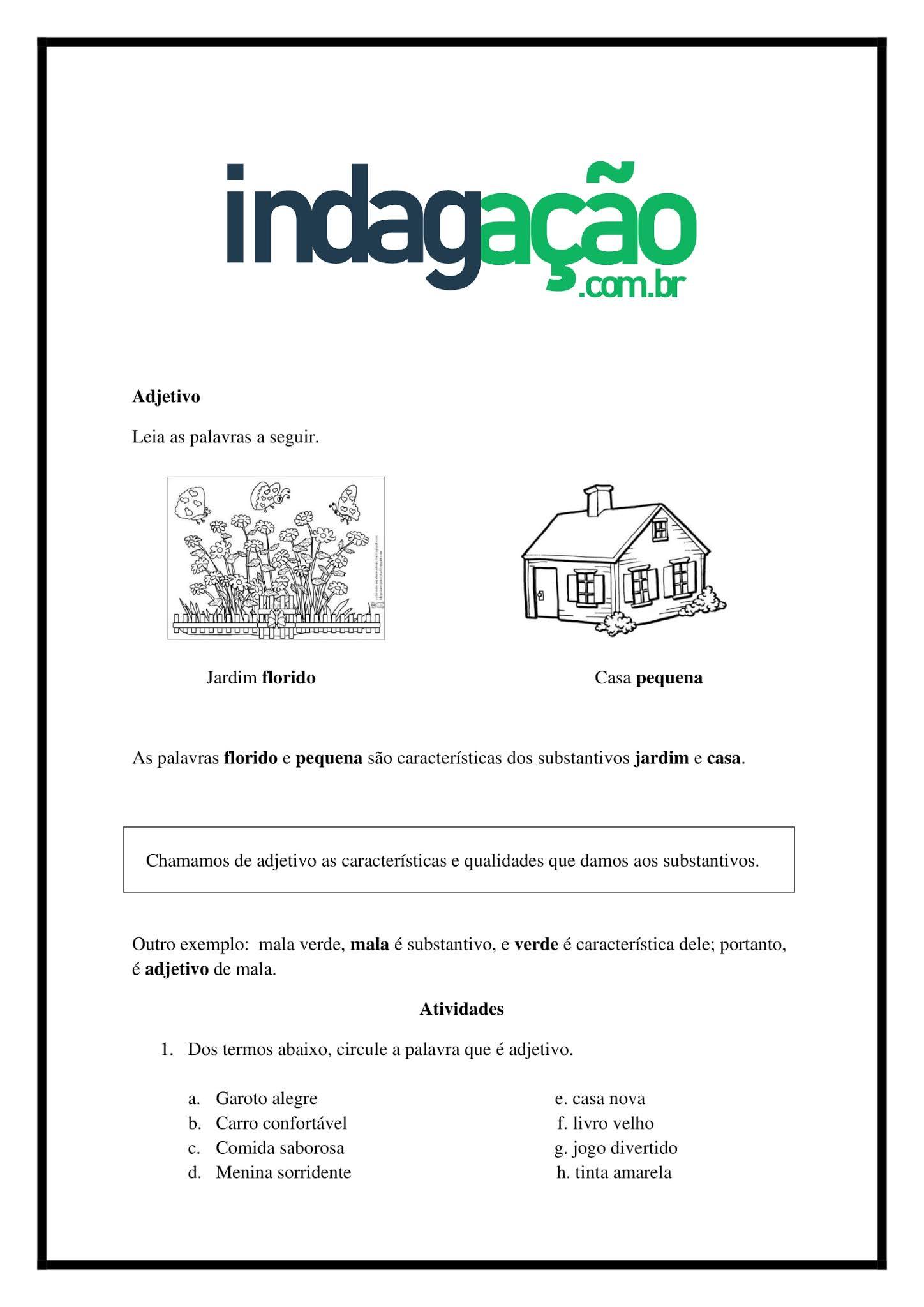 Atividade de Português 2º Ano: Adjetivo - Ensino Fundamental