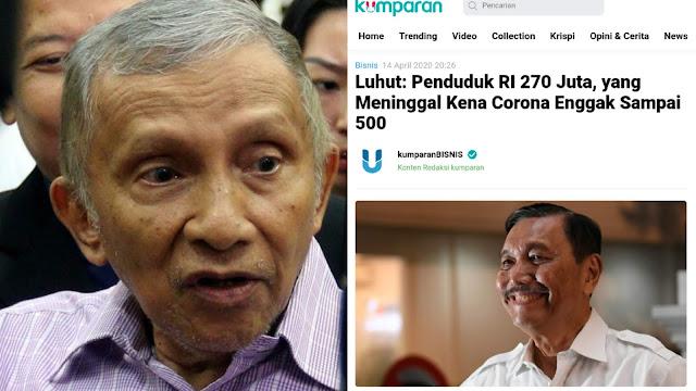 Kontroversi Pernyataan Luhut, Amien Rais: Tidak Pantas dan Tidak Manusiawi Diucapkan Seorang Pejabat Negara