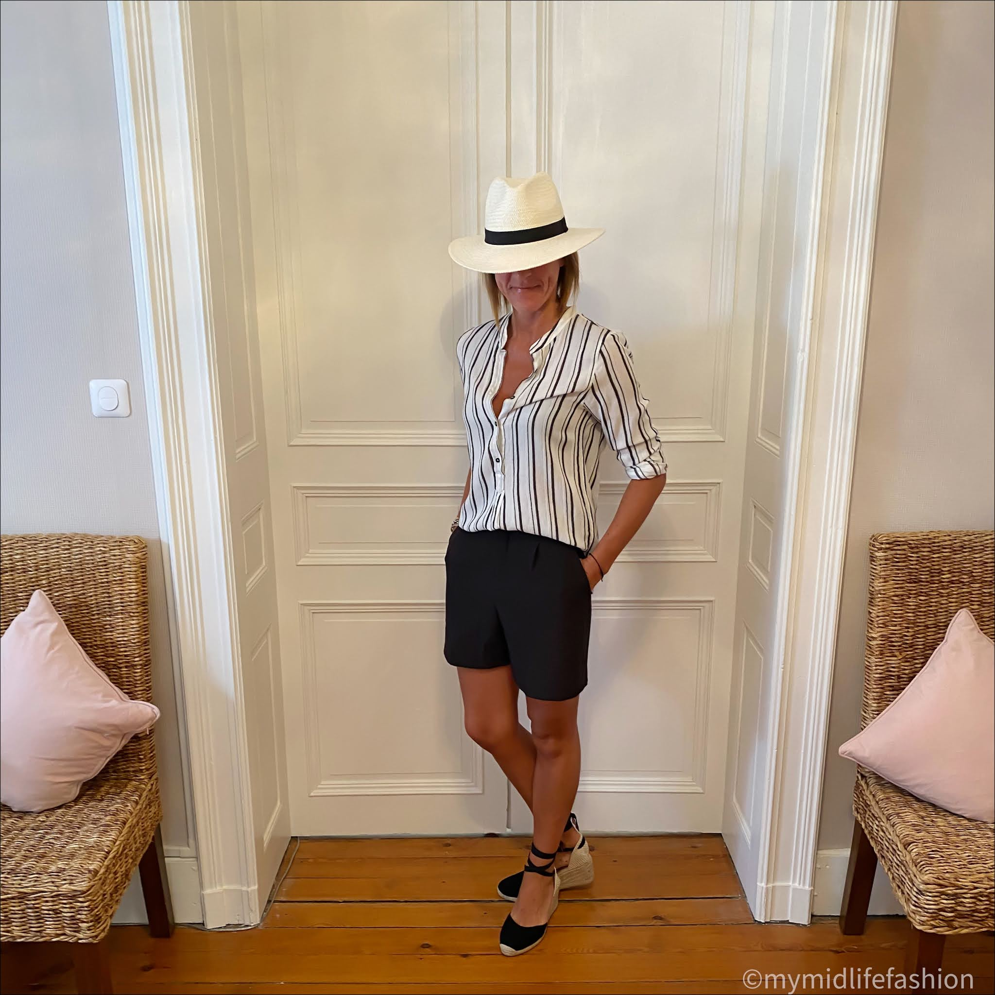 my midlife fashion, zara Panama hat, Isabel Marant Etoile stripe blouse, zara shorts, boden Cassie espadrille wedge sandals