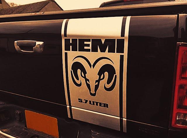 hemi-and-dodge-logo-white-stripe-on-dodge-ram-tailgate