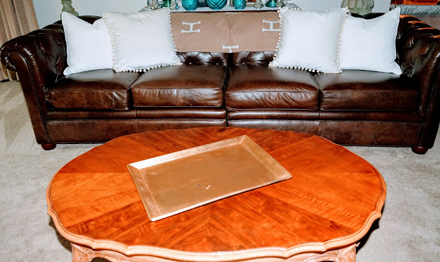 French provincial coffee table with gold tray