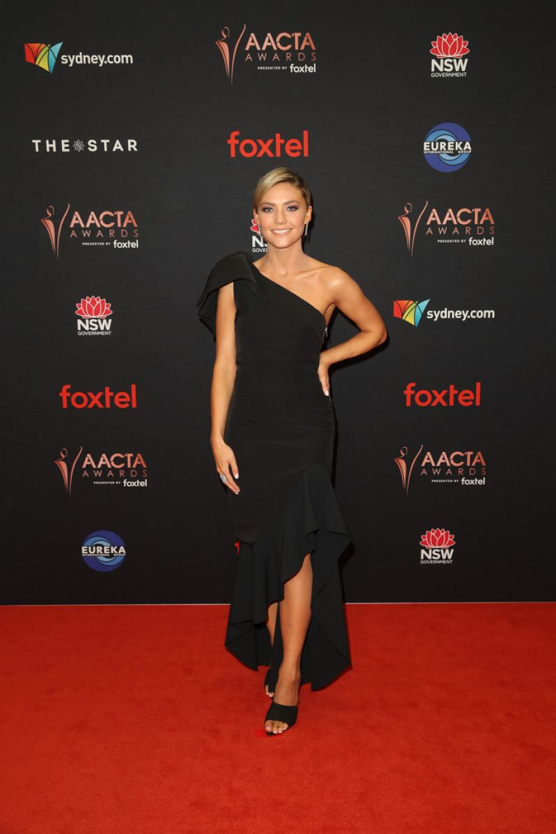Sam Frost looks ravishing in a black off the shoulder gown as she arrives at the 2019 AACTA Awards in Sydney