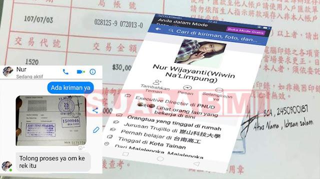 TKW Taiwan Ini mau Nipu Toko Indonesia NT$ 30.000 Dengan Pura Pura Mau Kirim uang Denagn Resi Editan