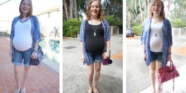 navy printed kimono in pregnancy with baby bump awayfromtheblue blog
