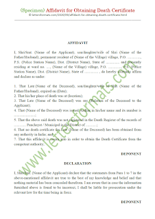 affidavit format for obtaining death certificate