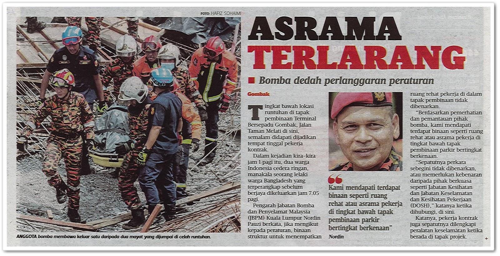 Asrama terlarang ; Bomba dedah perlanggaran peraturan - Keratan akhbar Harian Metro 24 Mei 2019
