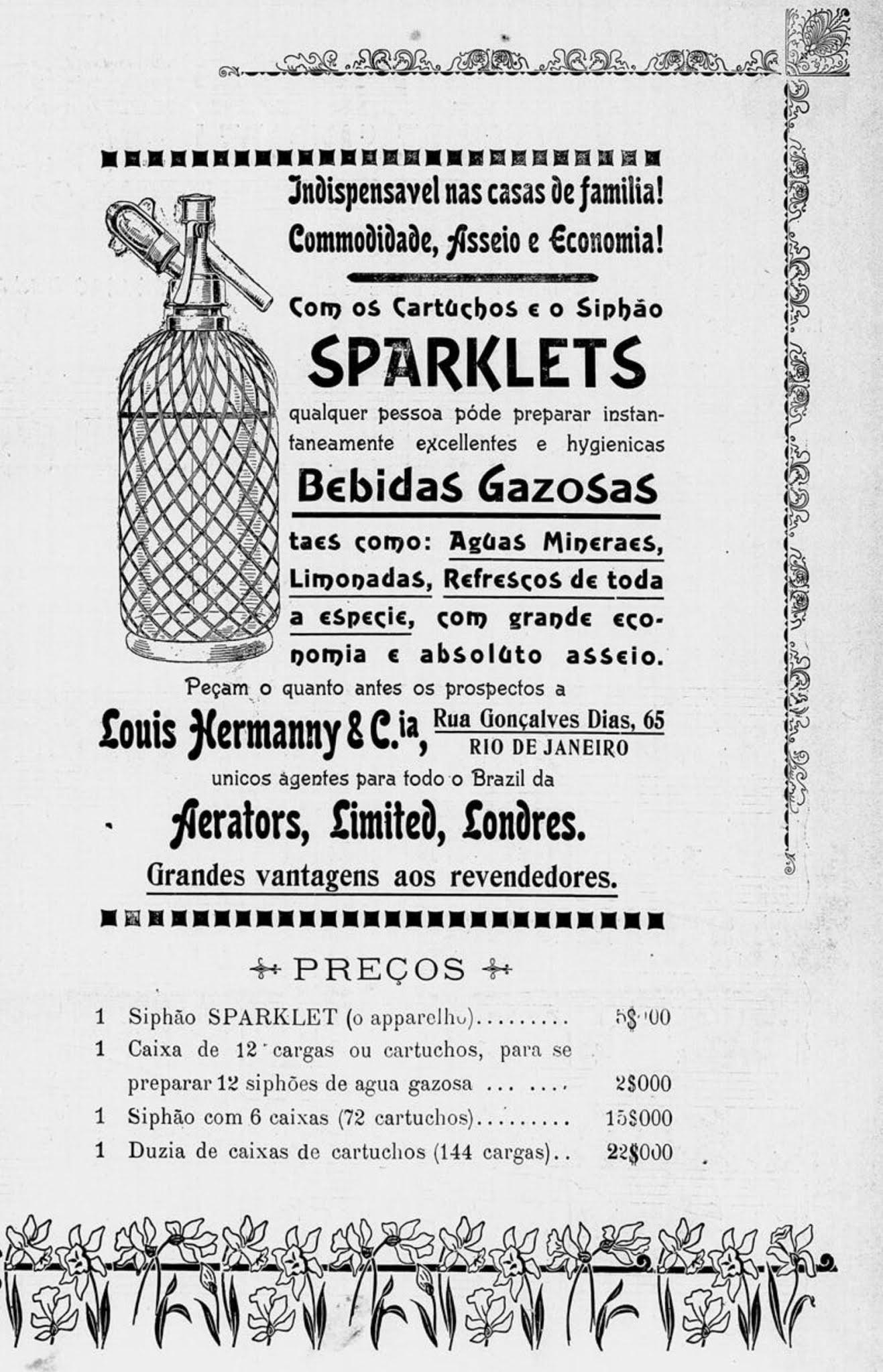 Anúncio de 1906 promovendo os cartuchos e sifões da marca Sparklets