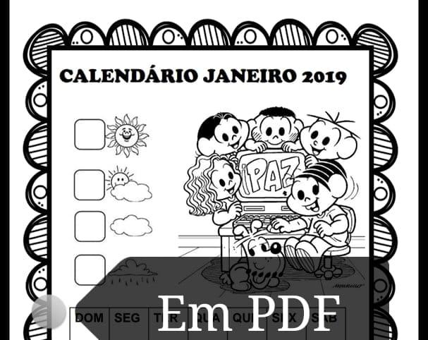 Calendários janeiro 2019 com e sem numeração Turma da Mônica para imprimir.