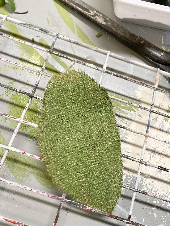 green painted burlap leaf shape