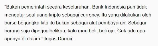 Tapi bukan sebagai alat transaksi, melainkan hanya diperdagangkan jual beli secara digital,