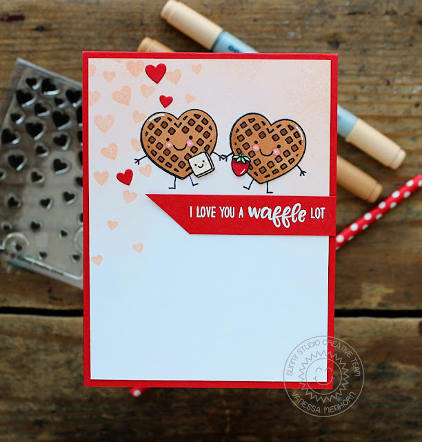 Sunny Studio Stamps: Cascading Hearts and Breakfast Puns Love You A Waffle Card by Vanessa Menhorn