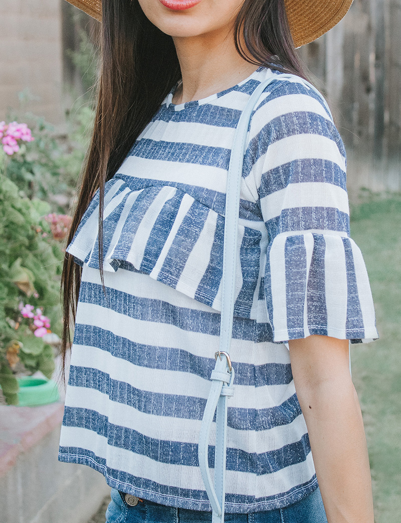 striped ruffle blouse with bell sleeves side close up