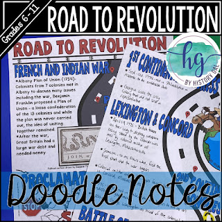 Thumbnail of Road to Revolution Doodle Notes by History Gal