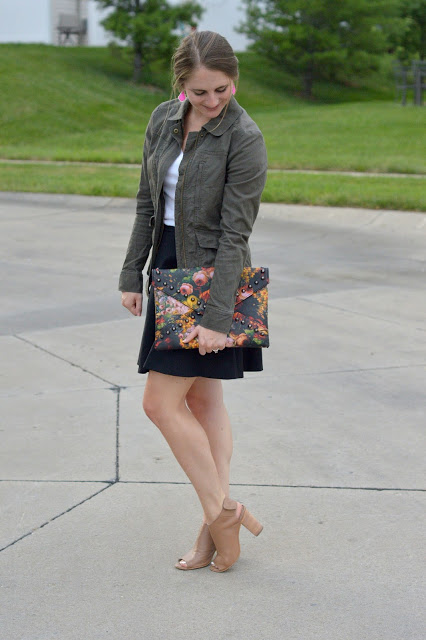 summer to fall transition outfit ideas | how to style a military jacket for summer | summer outfit ideas | cute outfit ideas for fall | cute summer outfit ideas | what to wear with a black skirt | what to wear this summer  | what to wear with a military jacket | military jacket outfit ideas | a memory of us |