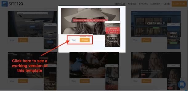 site123 theme choosing option