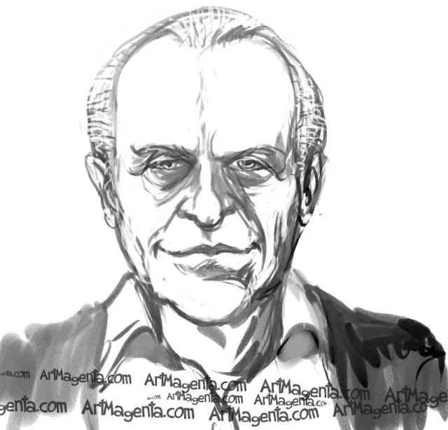 Anthony Hopkins caricature cartoon. Portrait drawing by caricaturist Artmagenta.a