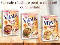 Castiga o pereche de casti wireless Sony si cereale Vitalis Roasted Musli