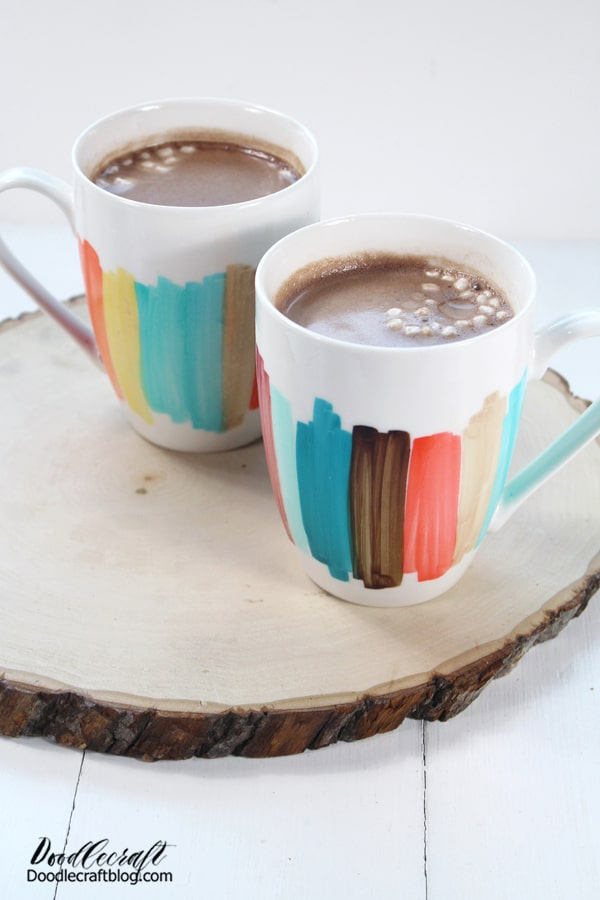 Make gorgeous color blocked mugs using Tombow ABT PRO Alcohol Based Markers and white ceramic mugs.