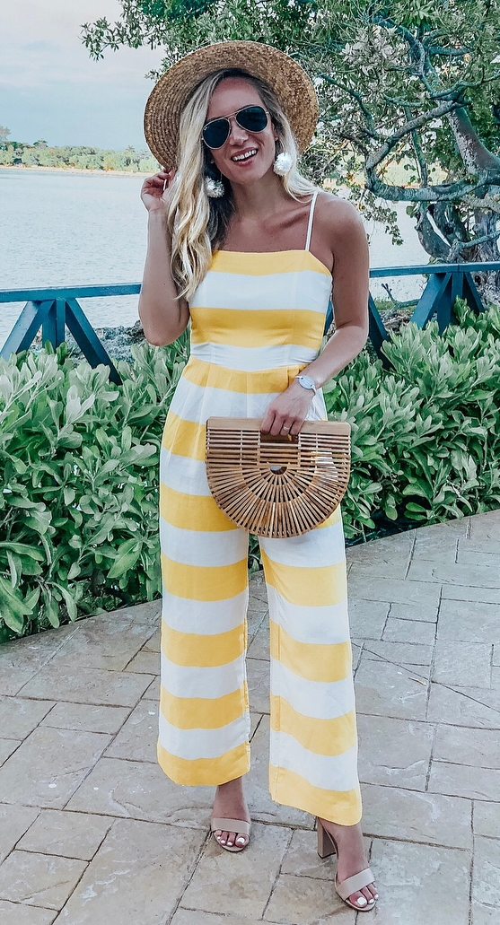 how to wear a striped jumpsuit : hat + bag + nude heels