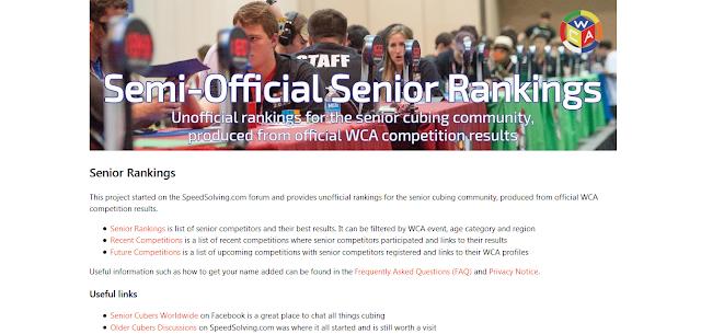 semi-official senior rankings WCA