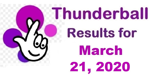 Thunderball Results for Saturday, March 21, 2020