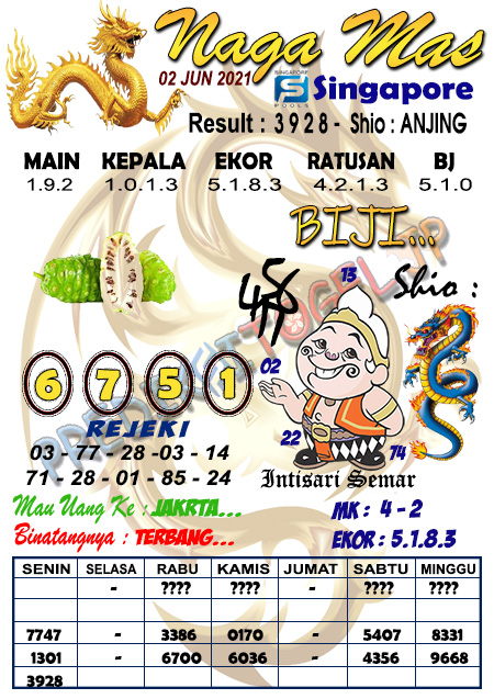 Syair Naga Mas SGP Rabu 02 Juni 2021