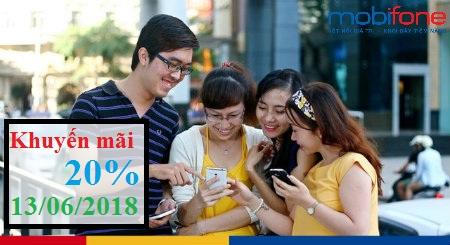 Khuyến mãi MobiFone ngày 13/6/2018