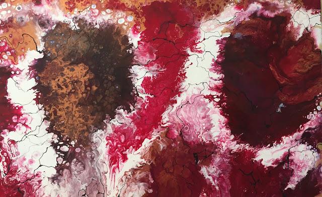 Maru Prats arte abstracto acrílico lienzo rojo