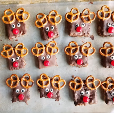 tray of Rudolph the red nose reindeer rice krispie treats