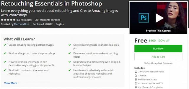 [100% Off] Retouching Essentials in Photoshop  Worth 100$