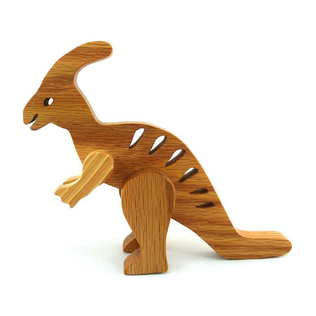 Handmade Wood Toy Dinosaur, Parasaurolophus - Wood Toy Animal