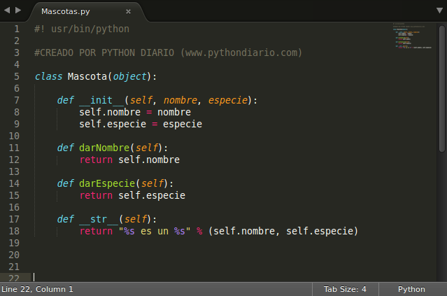 Definiendo clase Mascota en Python