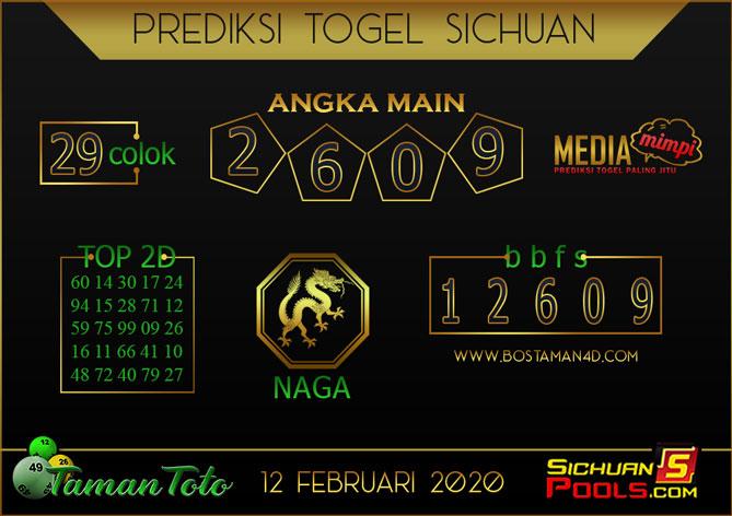 Prediksi Togel SICHUAN TAMAN TOTO 12 FEBRUARY 2020