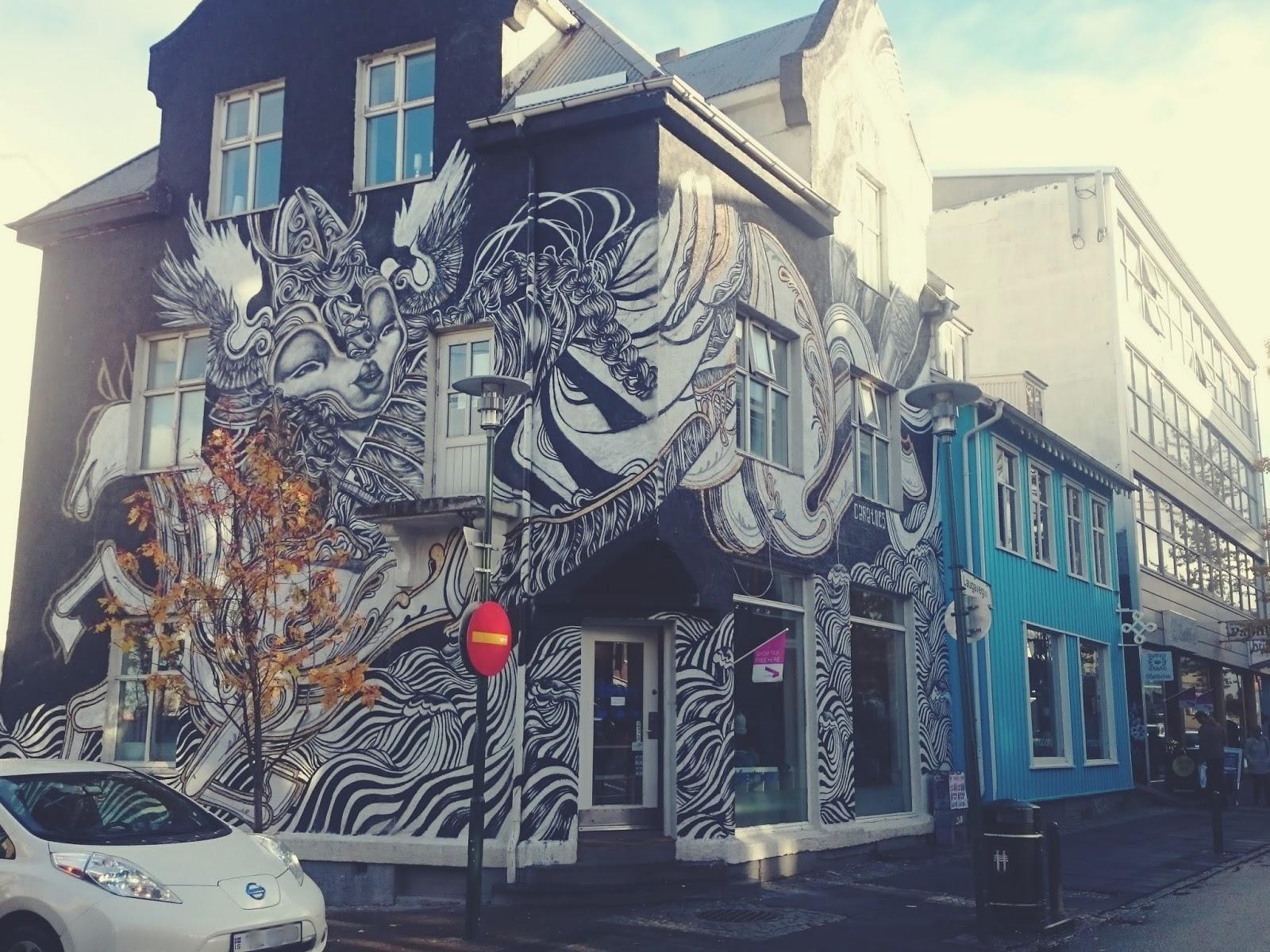 Reykjavik, miasto, stolica, Islandia, Krajobraz, domy, ulica, streetart, graffiti