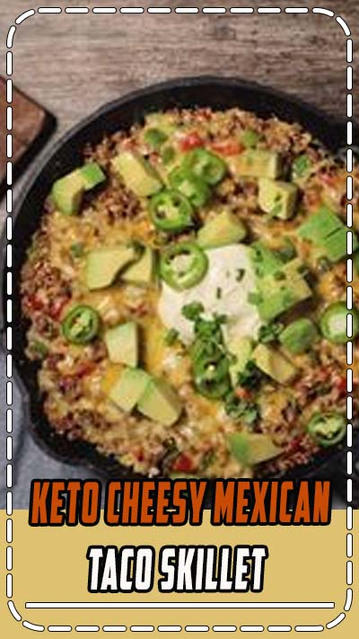 This Keto Cheesy Mexican Taco Skillet is packed full of southwest flavors from onions, peppers, jalapeños, avocado, cilantro, and of course, ground beef and cheese. This is a great weeknight keto dinner! #keto #ketorecipe #ketodiet #lowcarb #lowcarbrecipe #30minutedinner #easyrecipe #lowcarbdiet #glutenfree