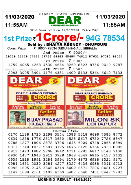 Sikkim State Lotteries 11-03-2020 Lottery Sambad Result 11:55 AM
