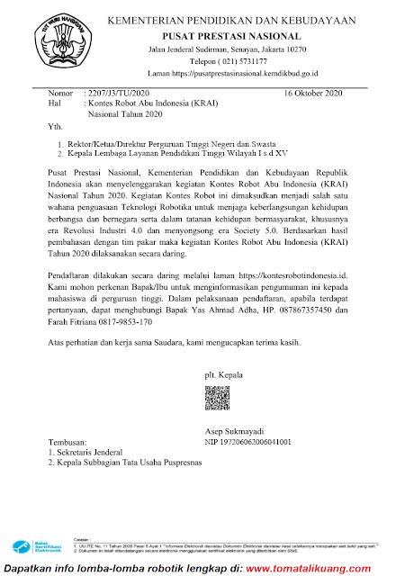 surat pengumuman pelaksanaan konte robot abu indonesia krai tahun 2020 pdf tomatalikuang.com