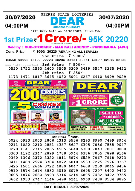 Lottery Sambad 30-07-2020 Sikkim State Lottery Result 04.00 PM