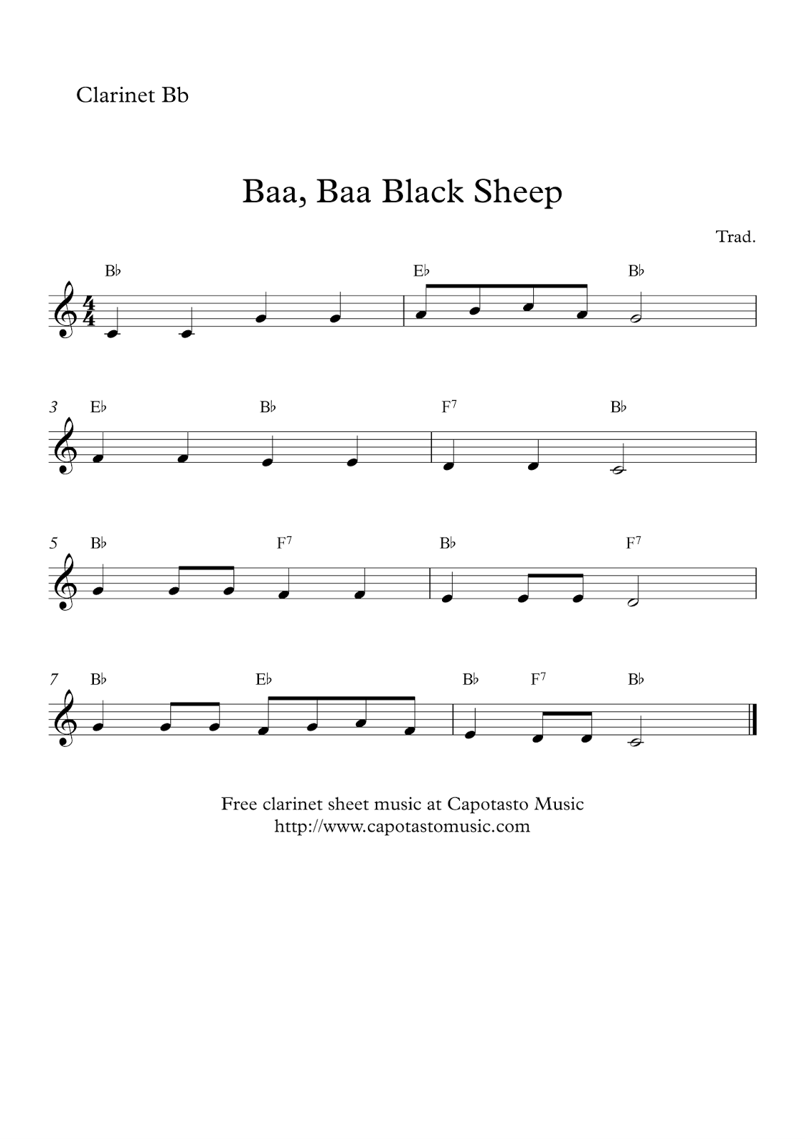 Free Printable Sheet Music Free Easy Clarinet Notes Baa Baa Black Sheep