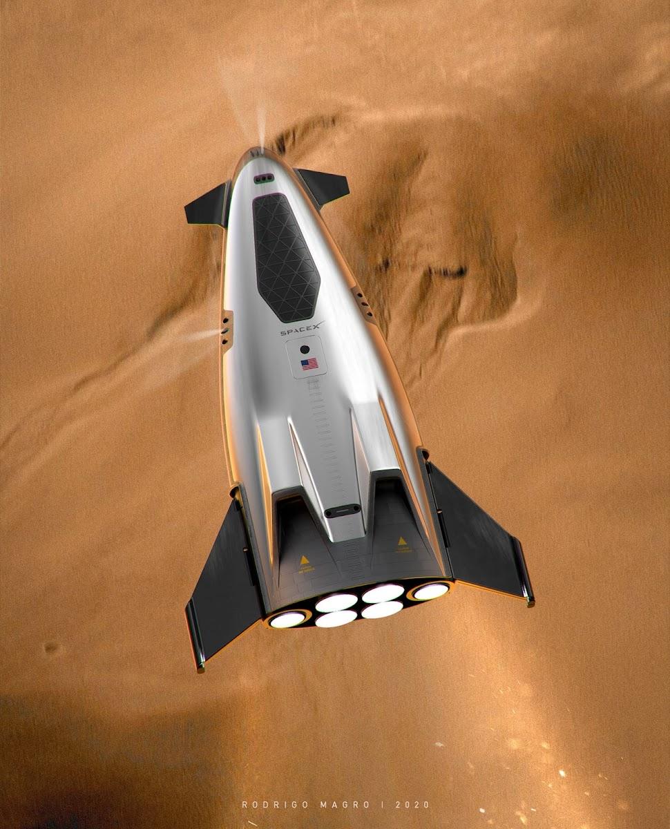 SpaceX orbital shuttle above Mars by Rodrigo Magro