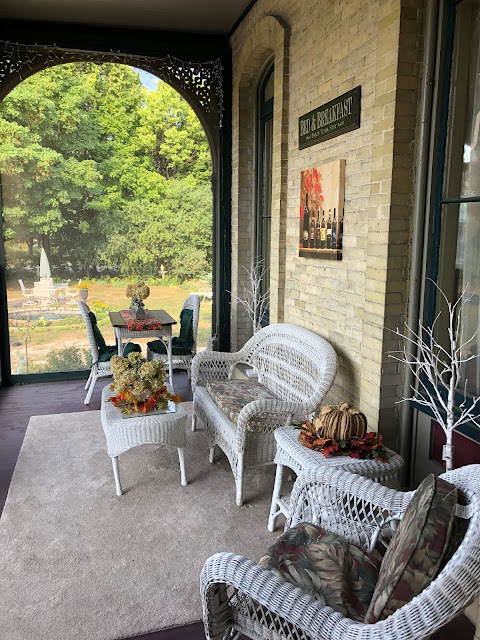 Relaxing enclosed porch.