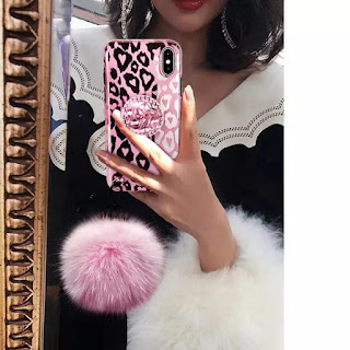 Restock leopard fur ball with diamond pop socket mobile cover case for iphone, redmi, oppo, vivo, oneplus