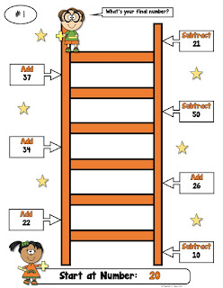 Number Ladders Add and Subtract 2 Digit Numbers