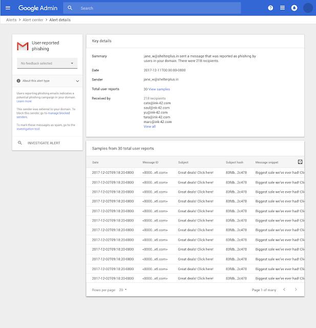جوجل توفر مركز لتنبيهات التهديدات الأمنية في G Suite